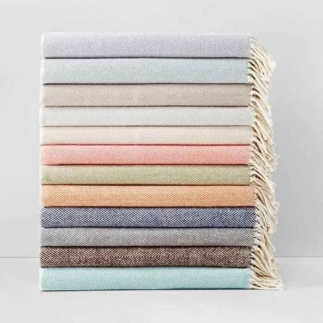 Sferra Celine Herringbone Cotton Blanket