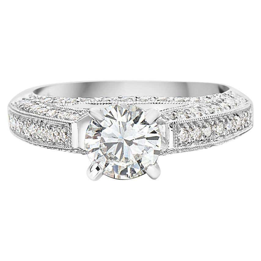 White Gold Cathedral Pave Setting Engagement Ring