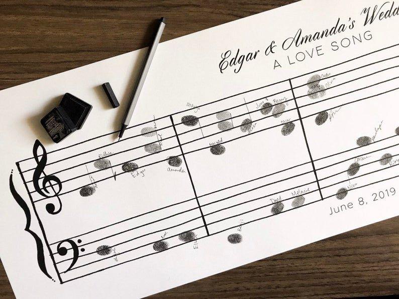 Music score wedding guest book