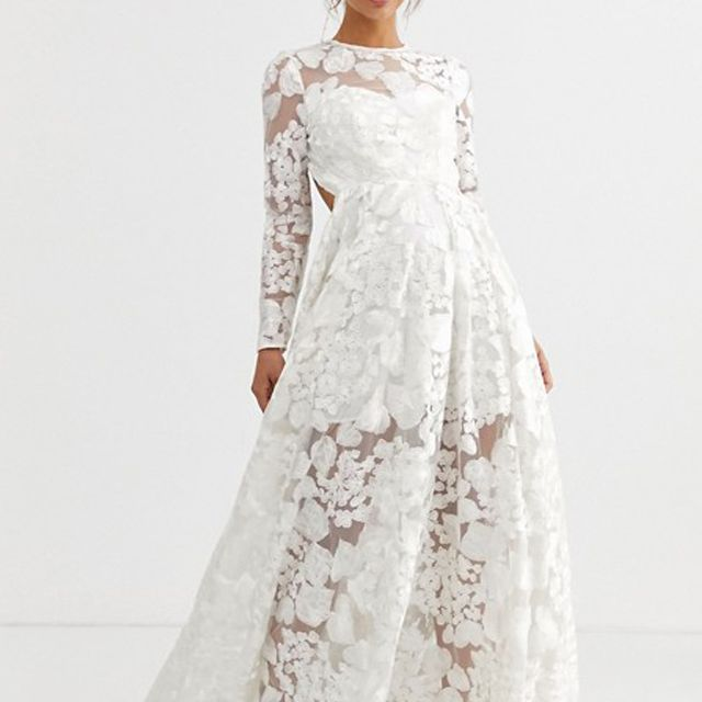 ASOS EDITION Wedding Dress With Open Back and Floral Embroidery $285