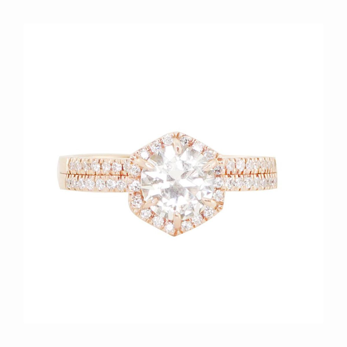 Round diamond on gold hexagon setting with diamond crown on a double band with diamond pave