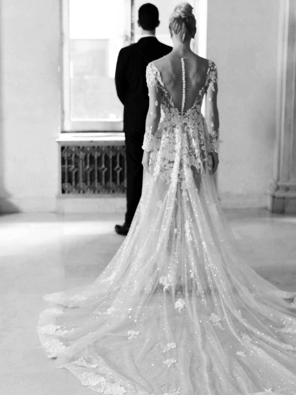 Bride behind groom