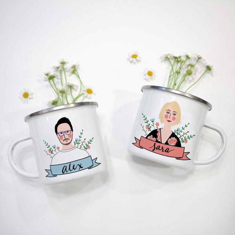 Personalized Couple Portrait Mug Set