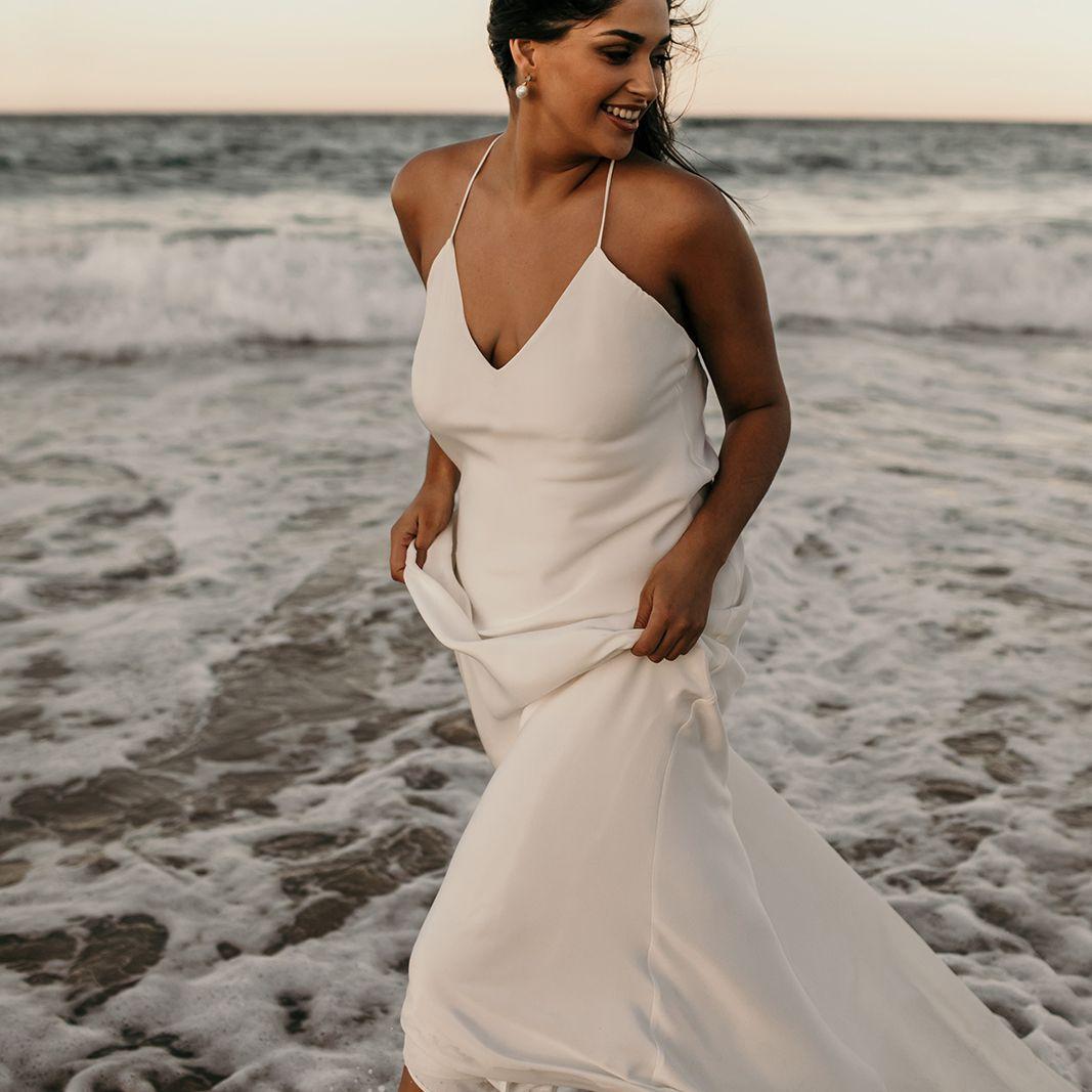 Dove silk slip wedding dress