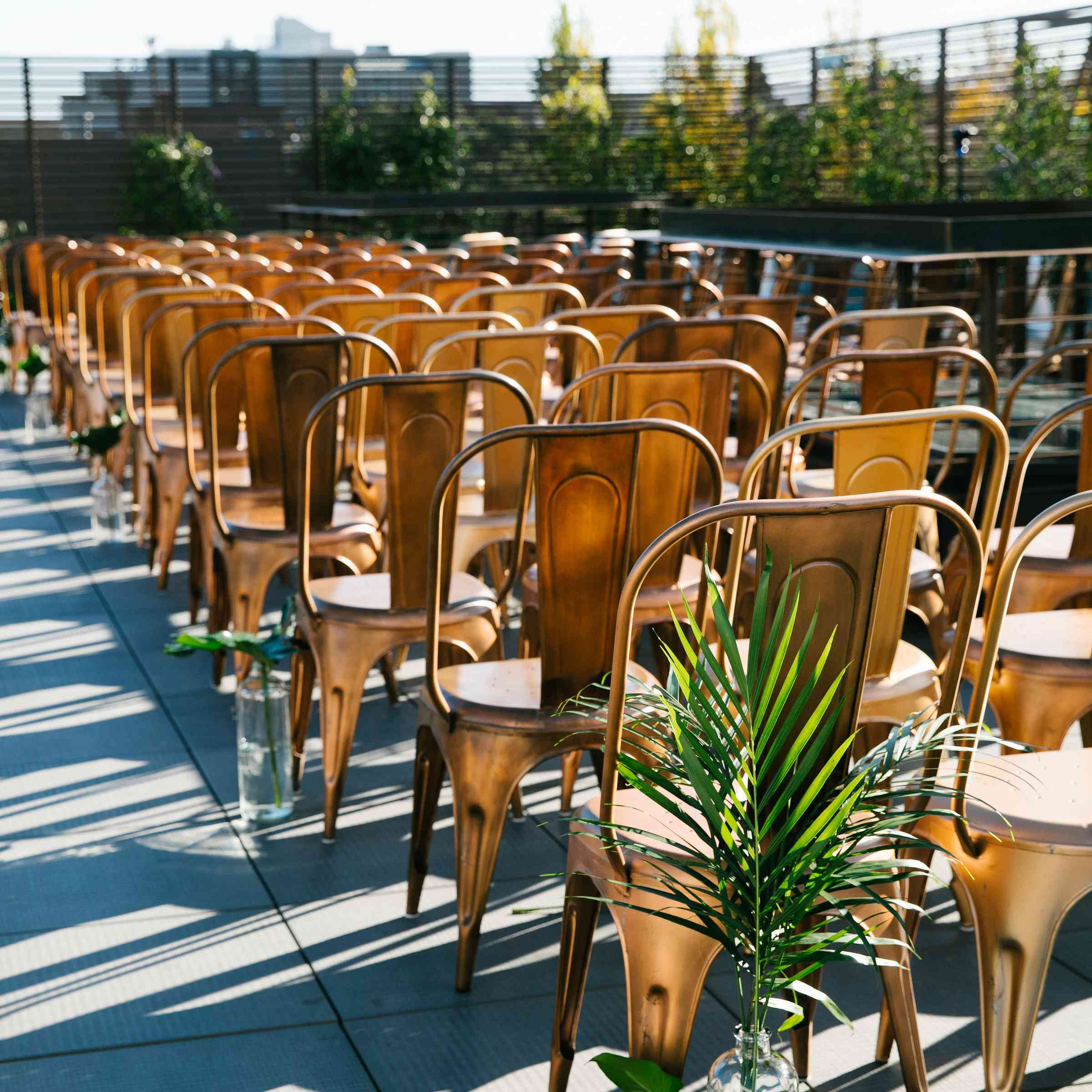 Gold chairs in seating arrangements