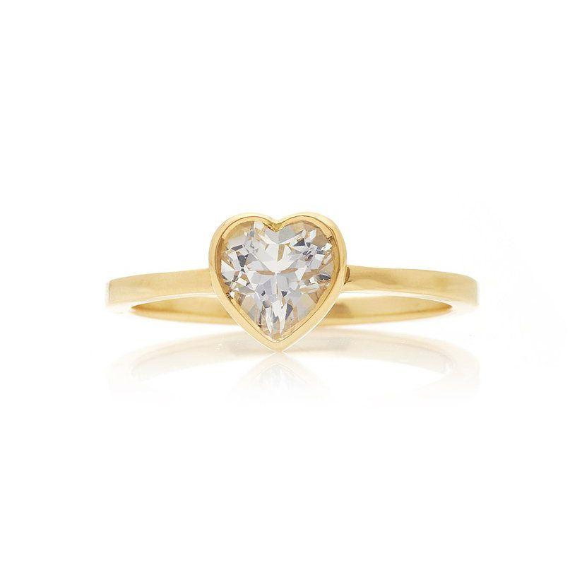 Katey Walker Tiny Heart 18K Gold and Topaz Ring