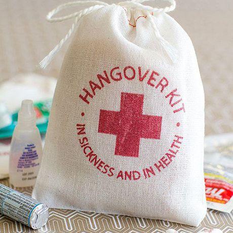 Hangover kit as wedding welcome bag