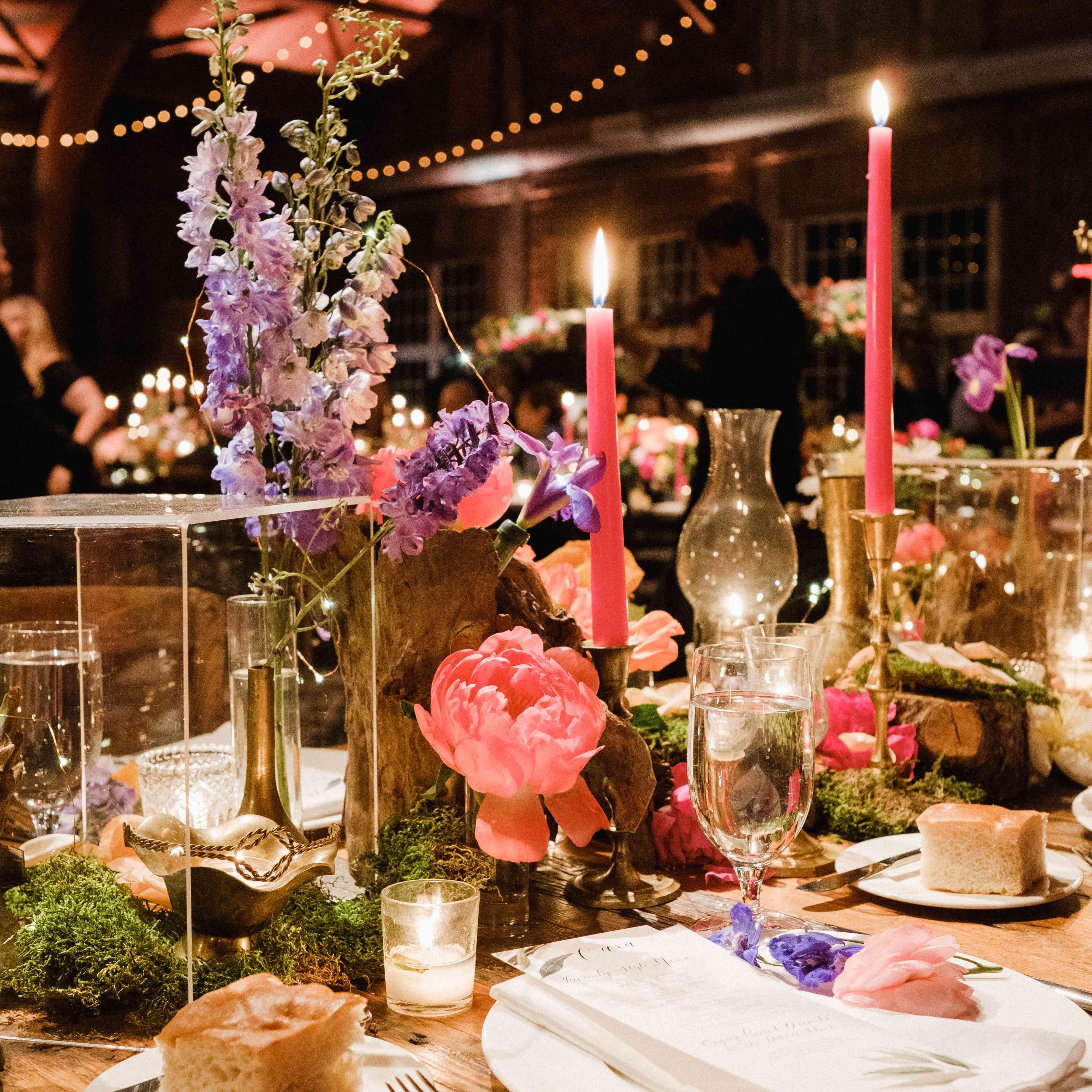 bright wedding reception tablescape