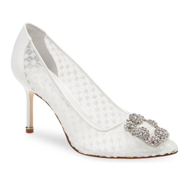 lace and satin heel with buckle