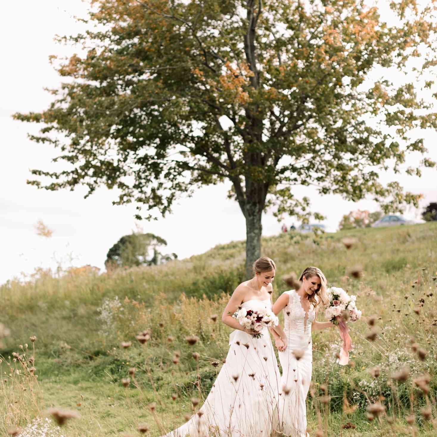 brides in a field