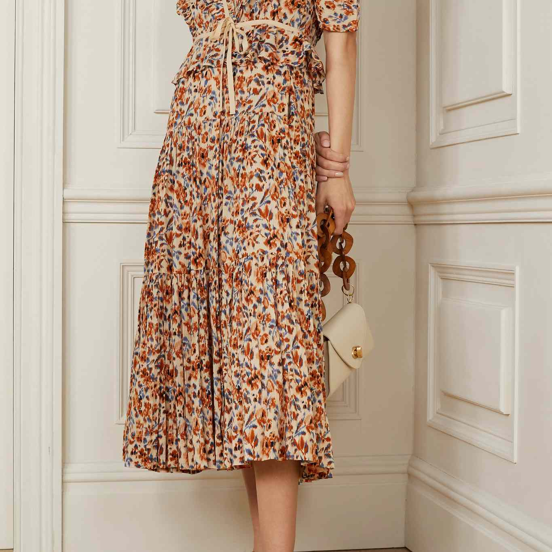 Ulla Johnson Lisette Ruffled Floral-Print Cotton-Crepon Wrap Midi Dress