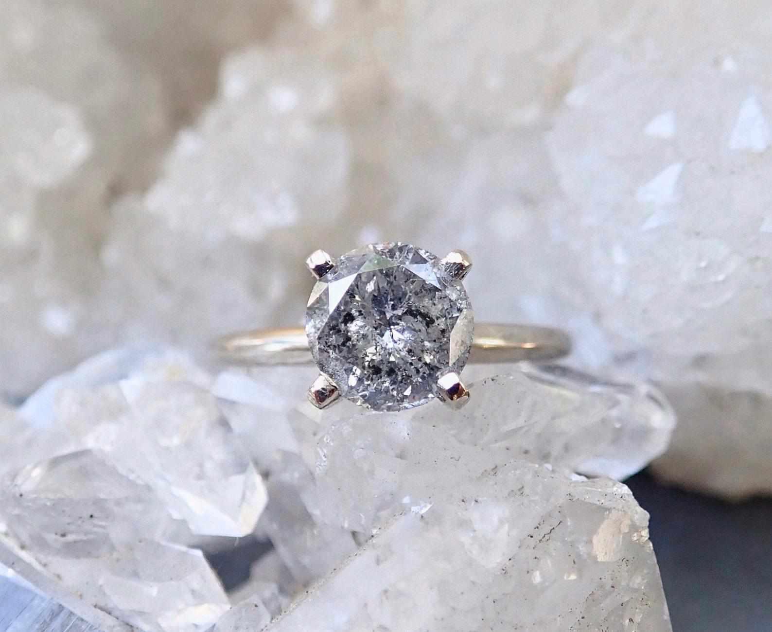 mossNstone Salt and Pepper Diamond, Raw Diamond Engagement Ring