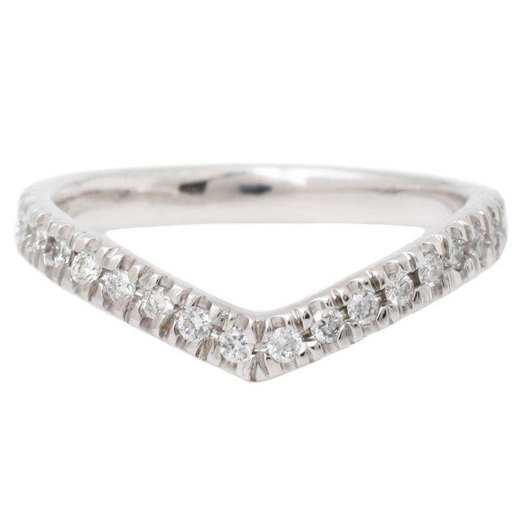 Lauren Wolf White Gold Half Eternity Wishbone Ring With Pavé Diamonds