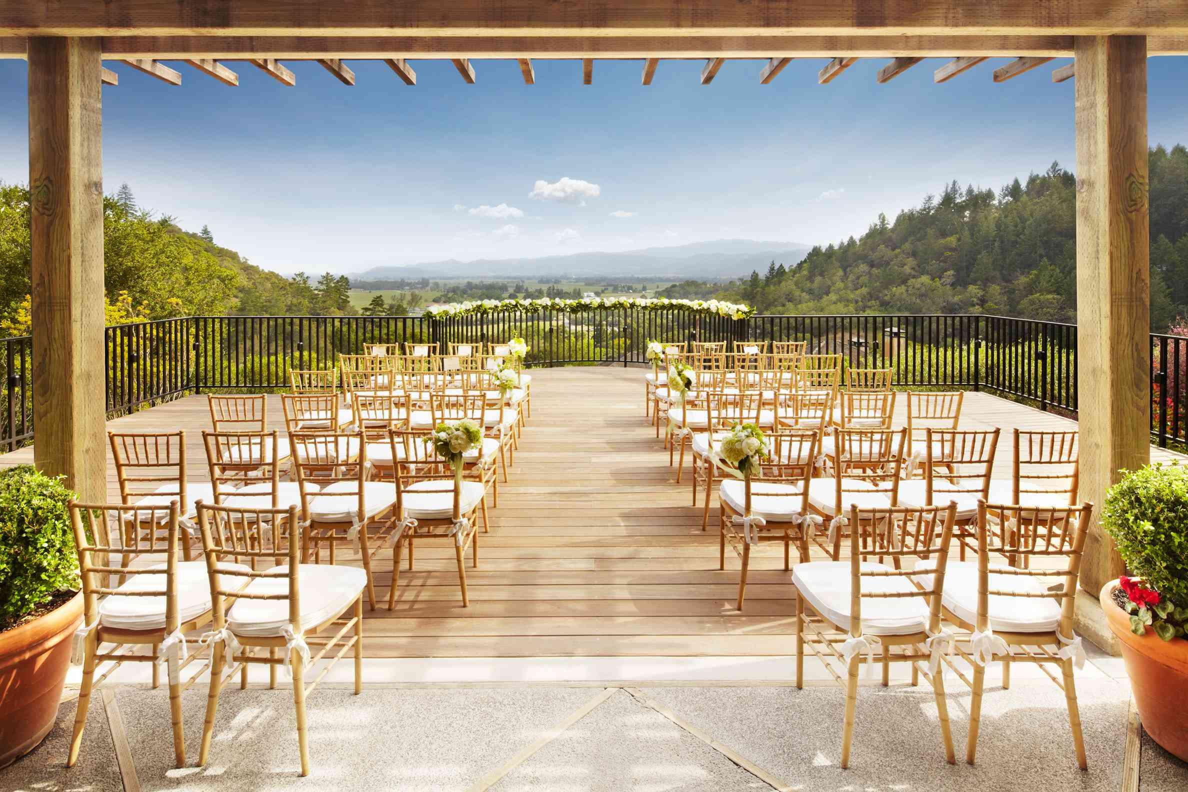 Wedding ceremony set-up on Napa Valley terrace