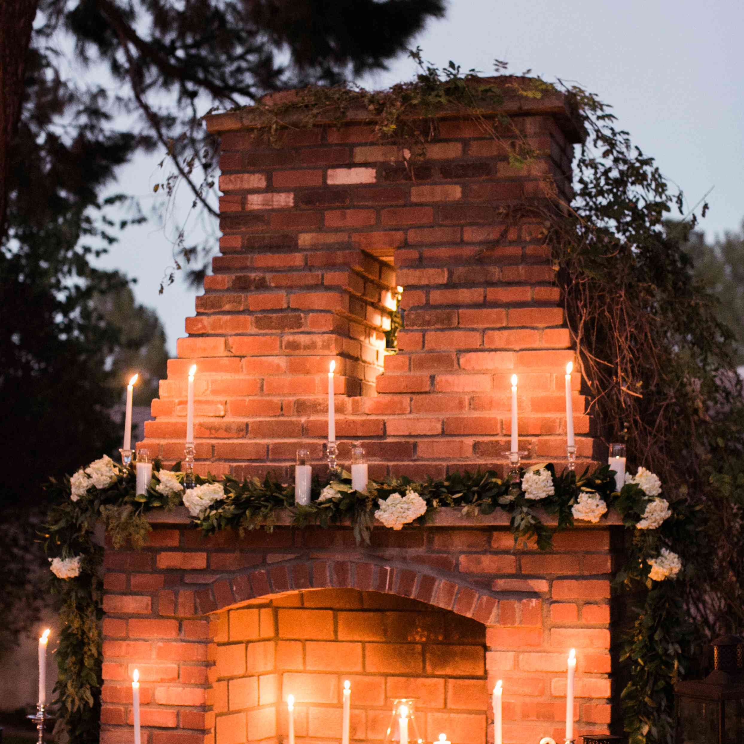 Candle lit fireplace