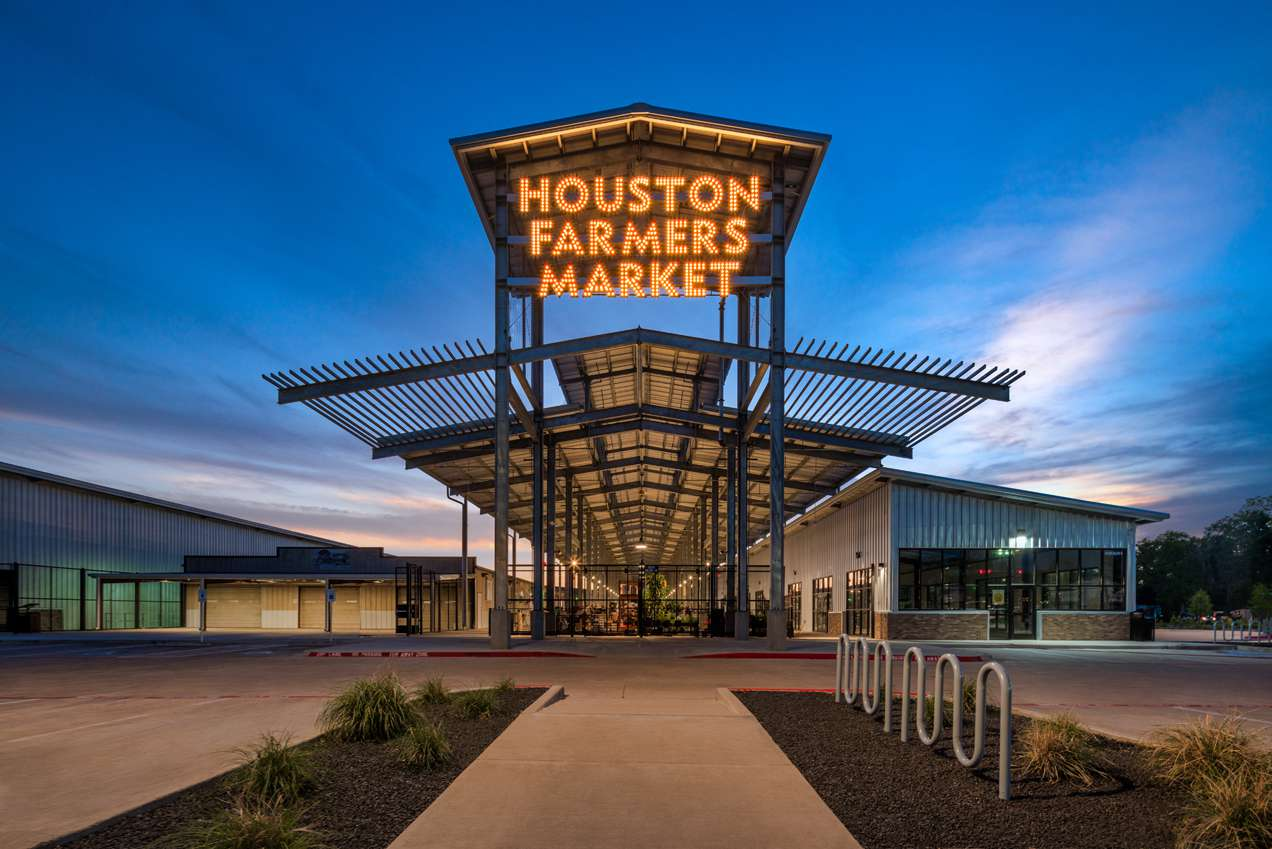 Entrance and neon lights at the Houston Farmers Market