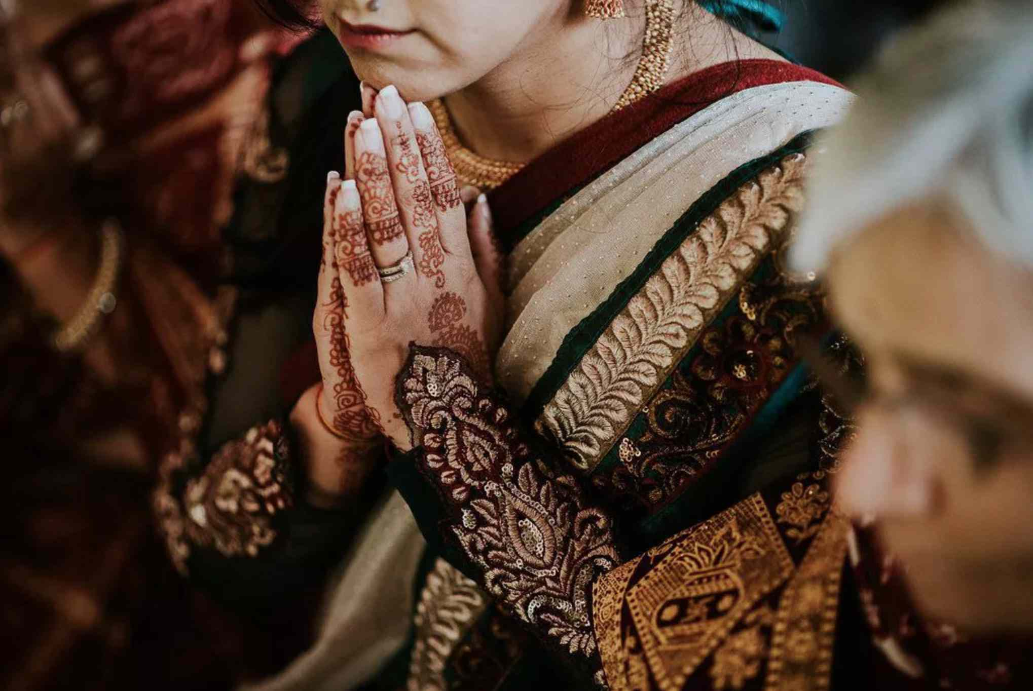 Indian bride with a French manicure
