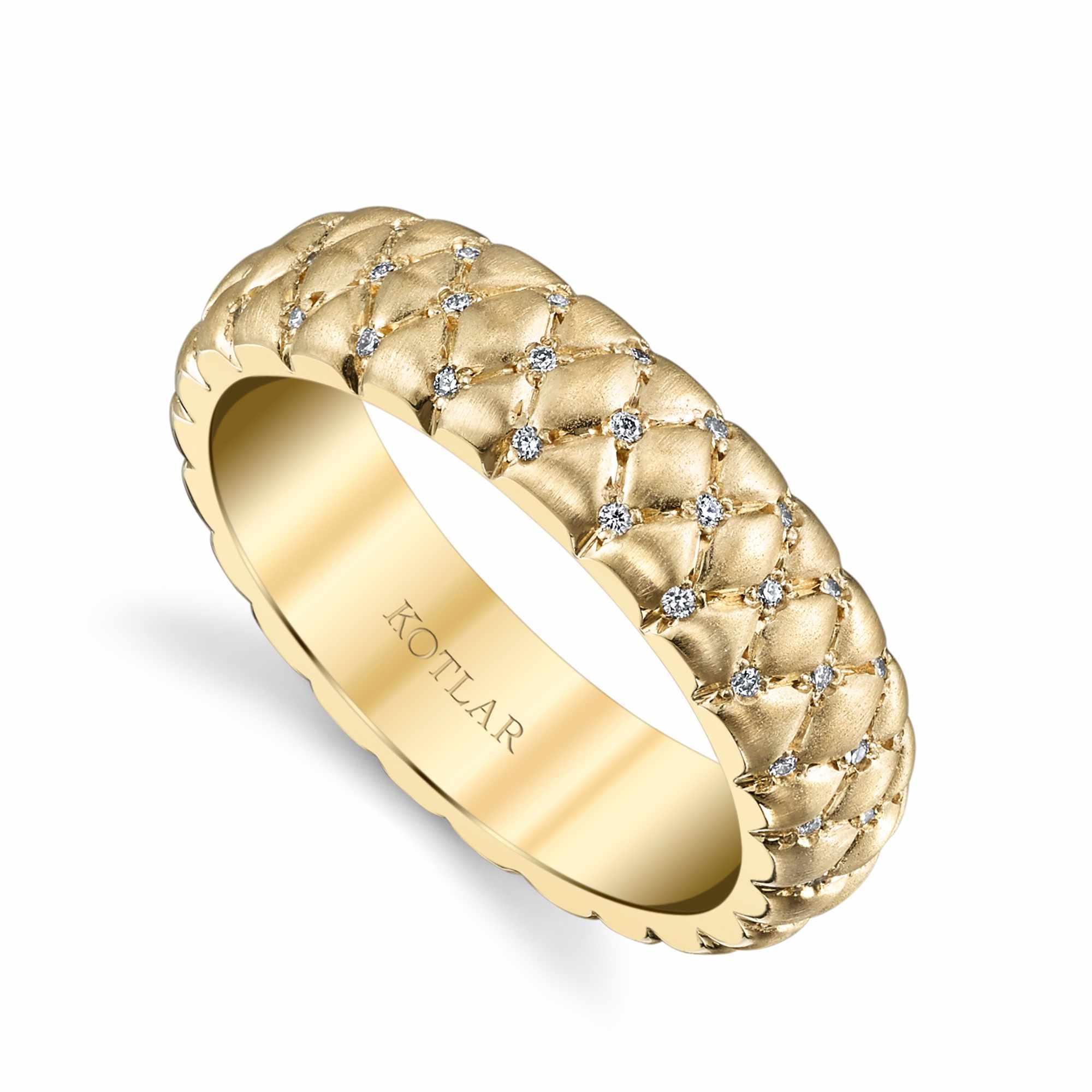 Harry Kotlar Yellow Gold Textured Victorian Band With Diamonds