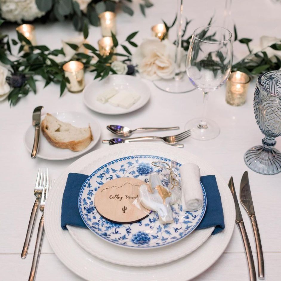 wooden coasters on place setting