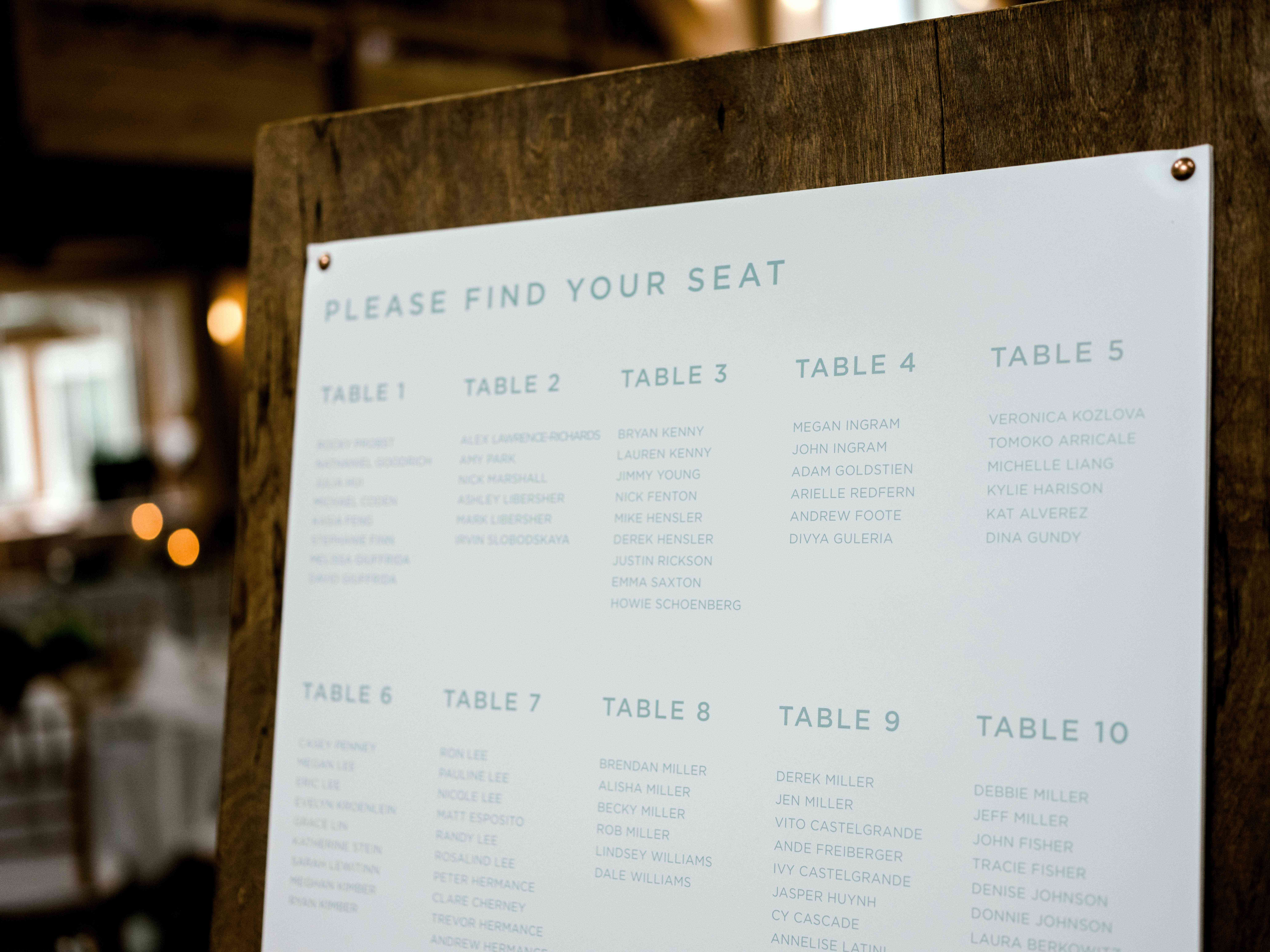 table assignment board