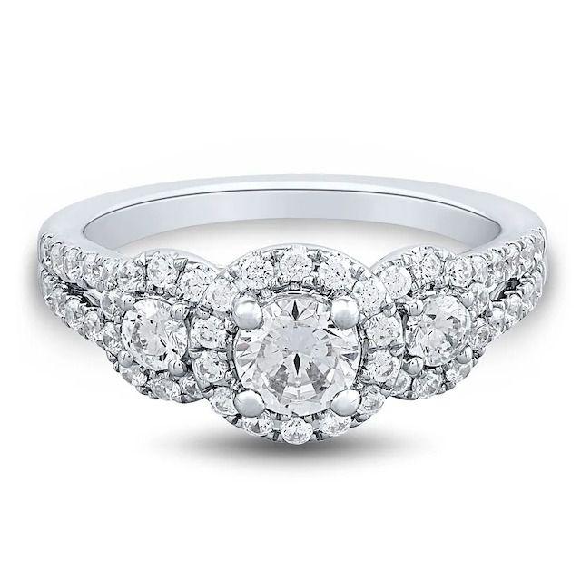 Helzberg Diamonds Light Heart Lab Grown Diamond Engagement Ring With Three Halos in 14k White Gold