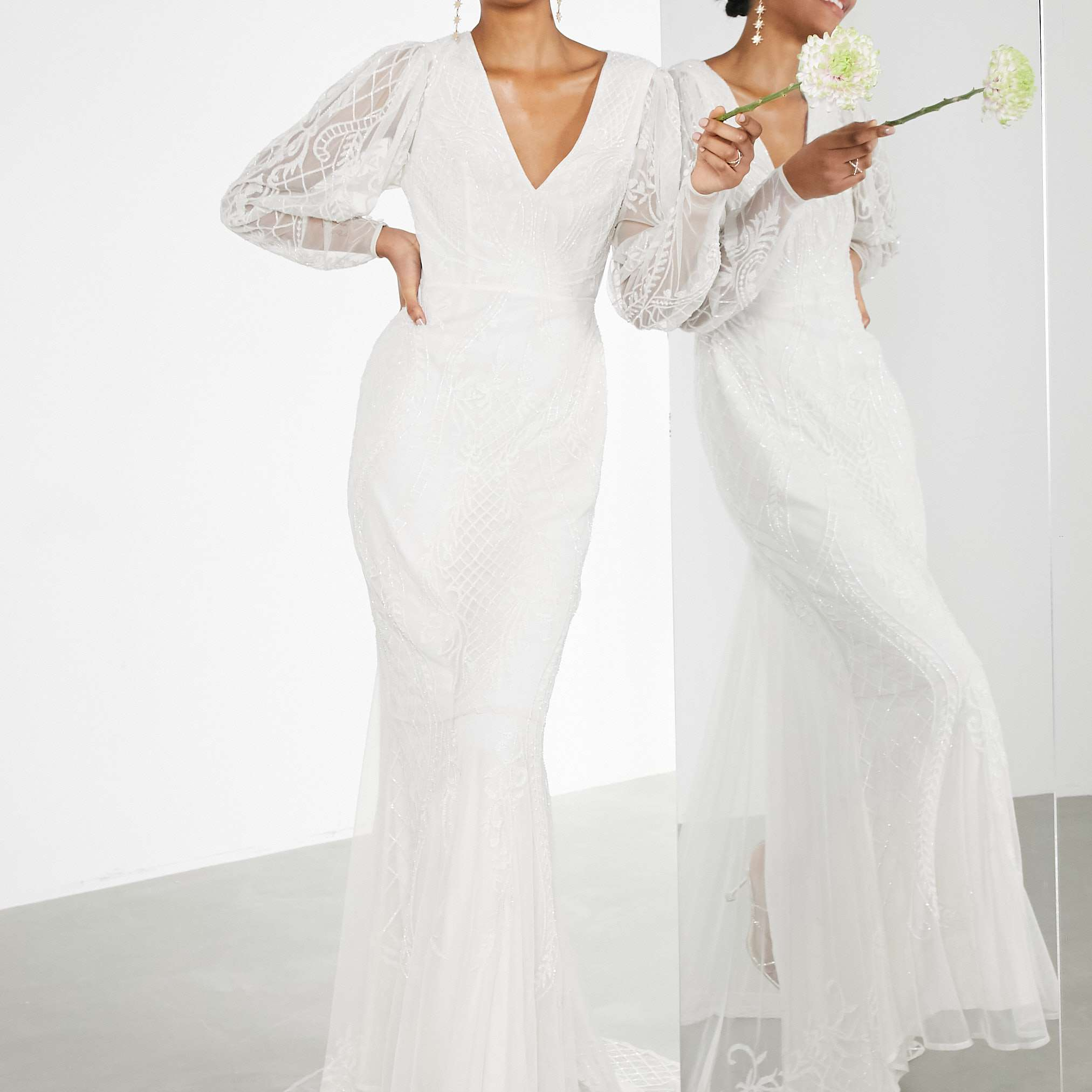 ASOS EDITION Lucy Placement Beaded Wedding Dress