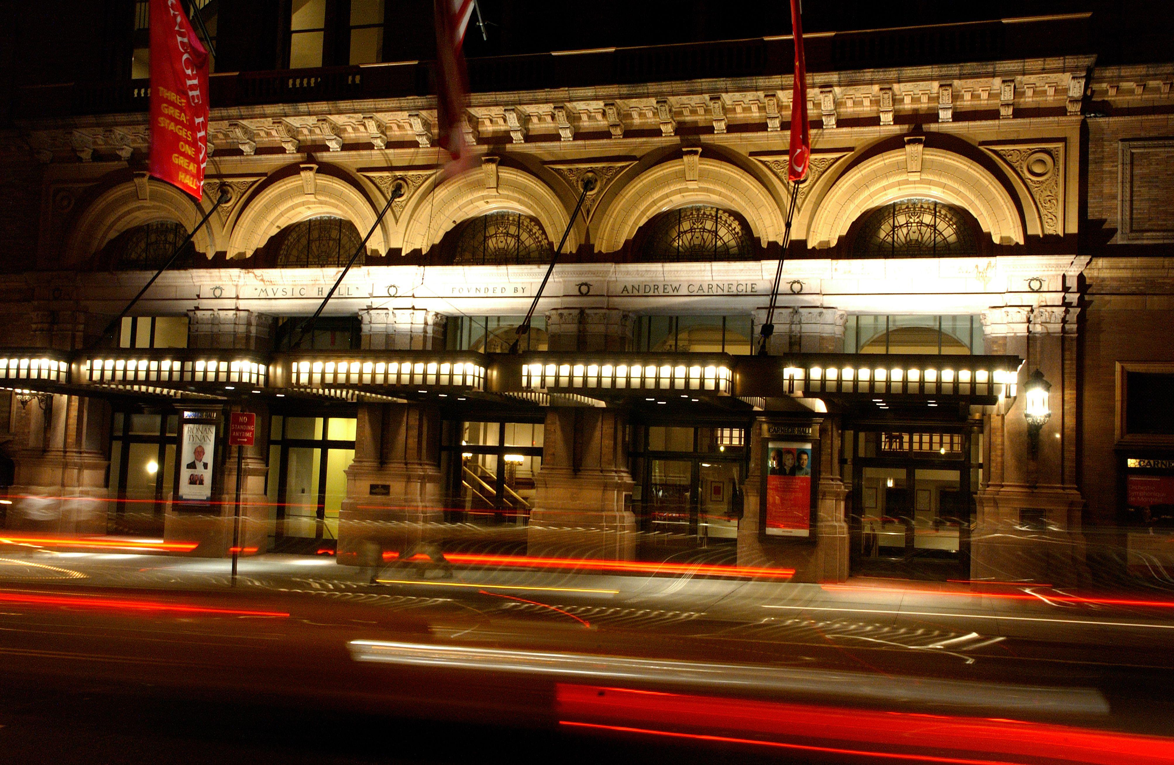 Carnegie Hall at night.