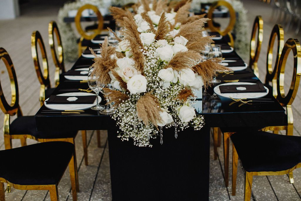 pampas grass and baby's breath