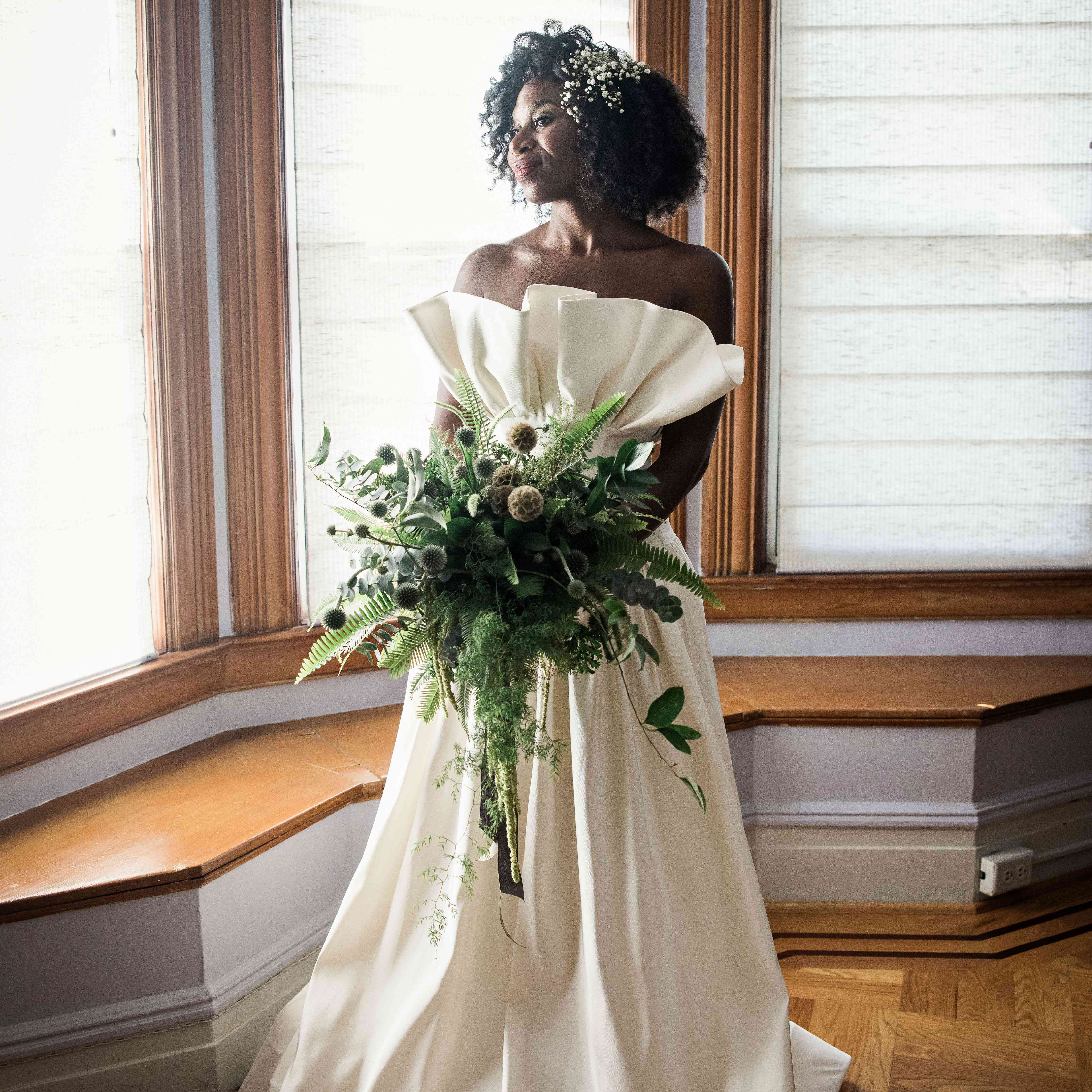 The bride with her bouquet