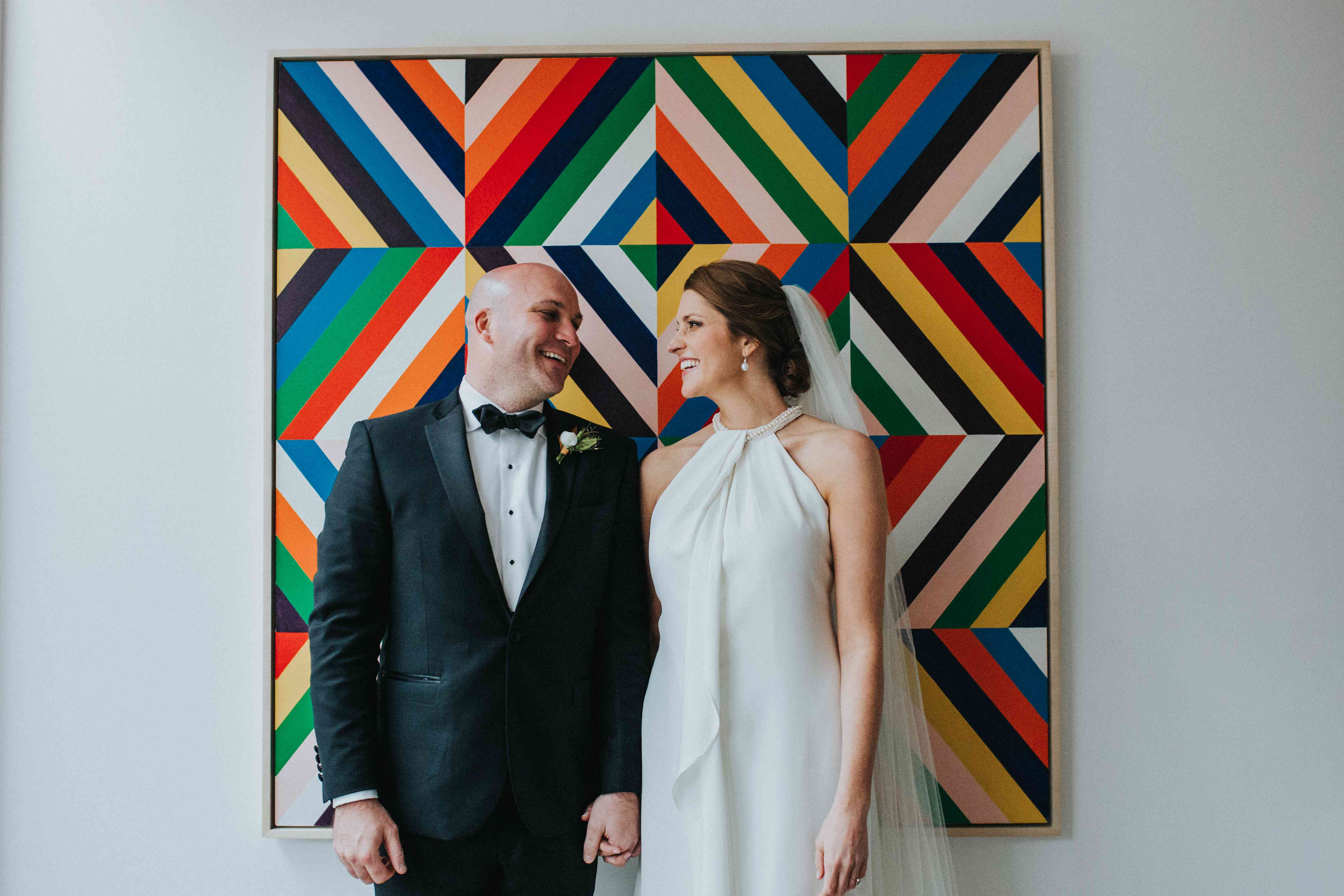 Bride and Groom with Colorful Picture