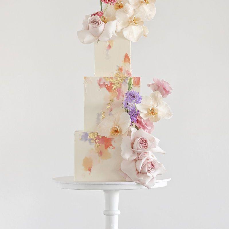Watercolor square cake