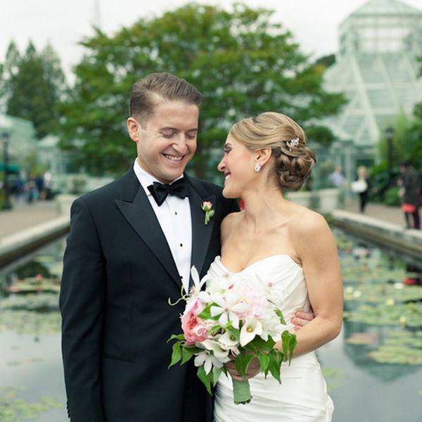 Brooklyn Botanic Garden nuptials featuring bride and groom.