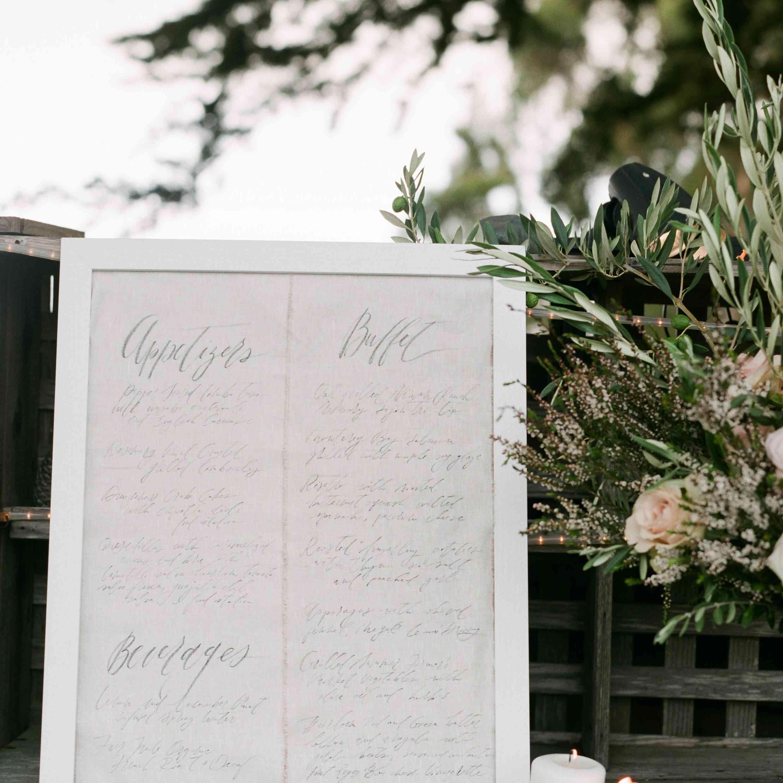 Wedding Menu on White Linen Board