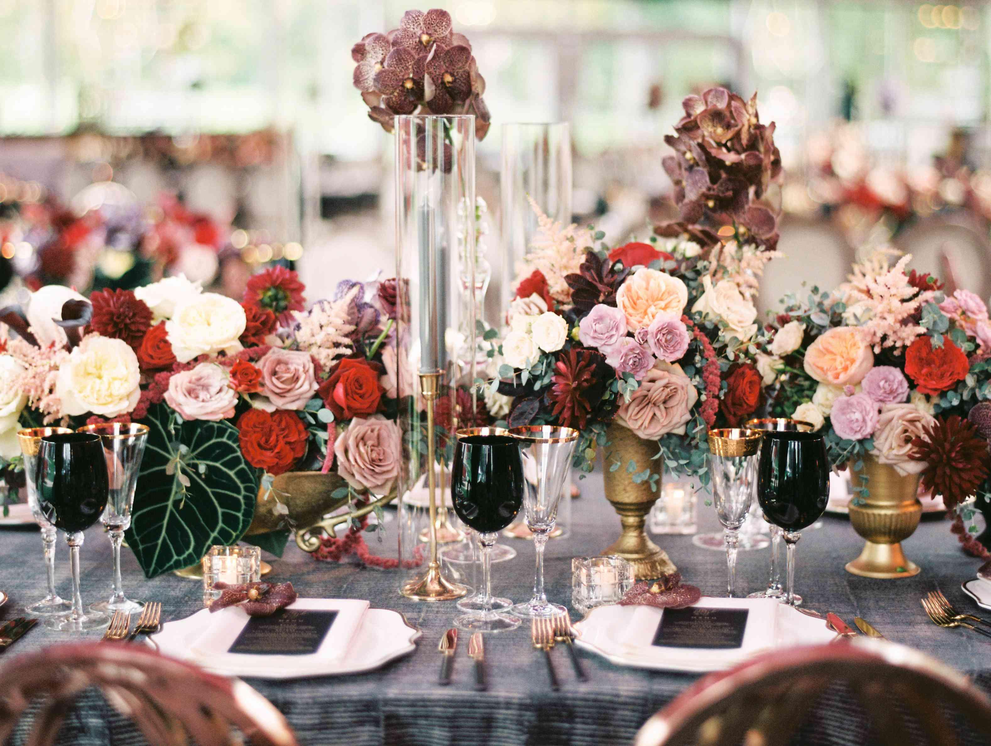 Floral arrangements on reception tables
