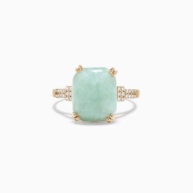 Effy 14k Yellow Gold Jade and Diamond Ring