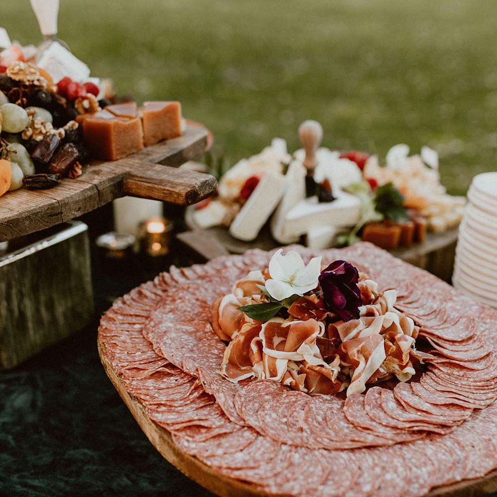 Platter of salami and prosciutto