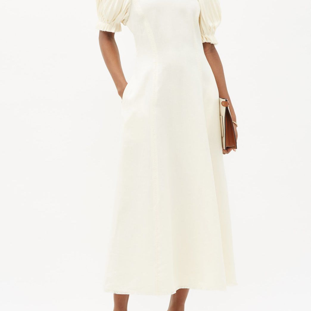 Gabriela Hearst Puga Puff-Sleeve Linen-Plissé Midi Dress