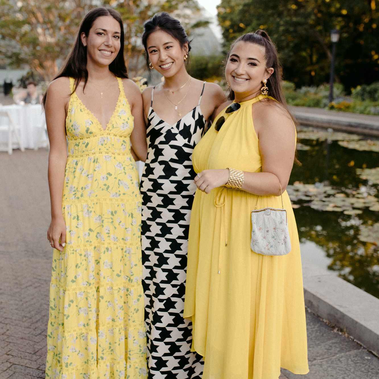 three women at a wedding