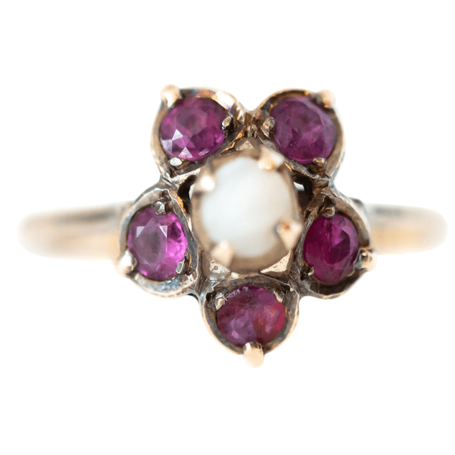 ruby and pearl ring