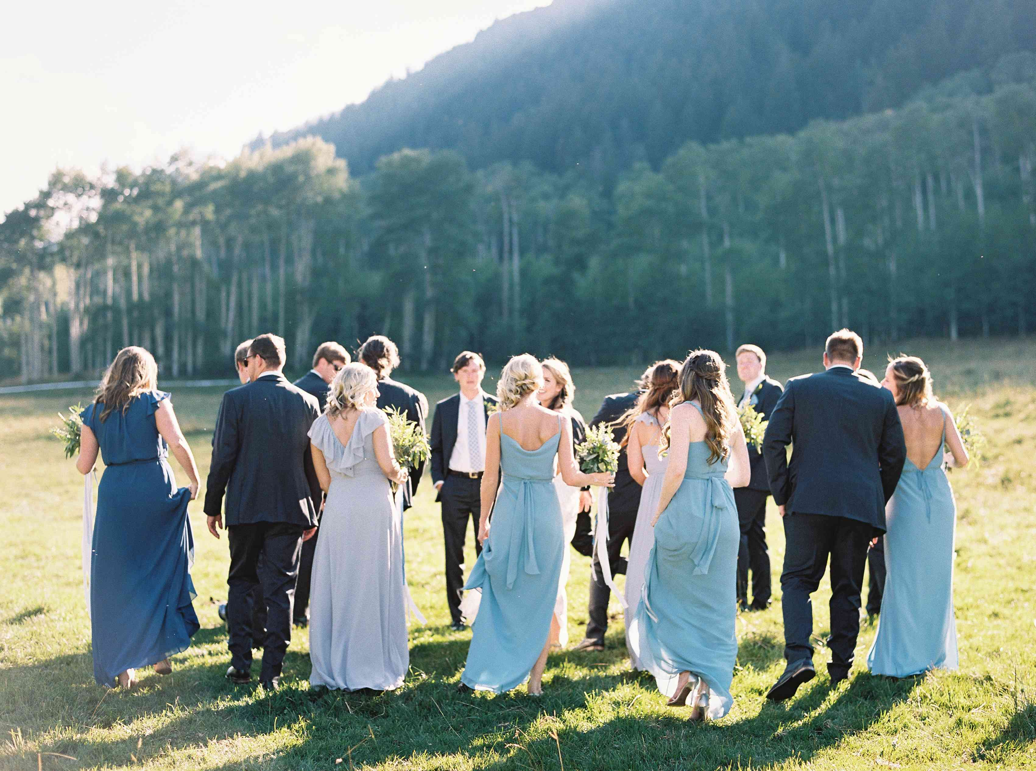Wedding Party in Blue Dresses