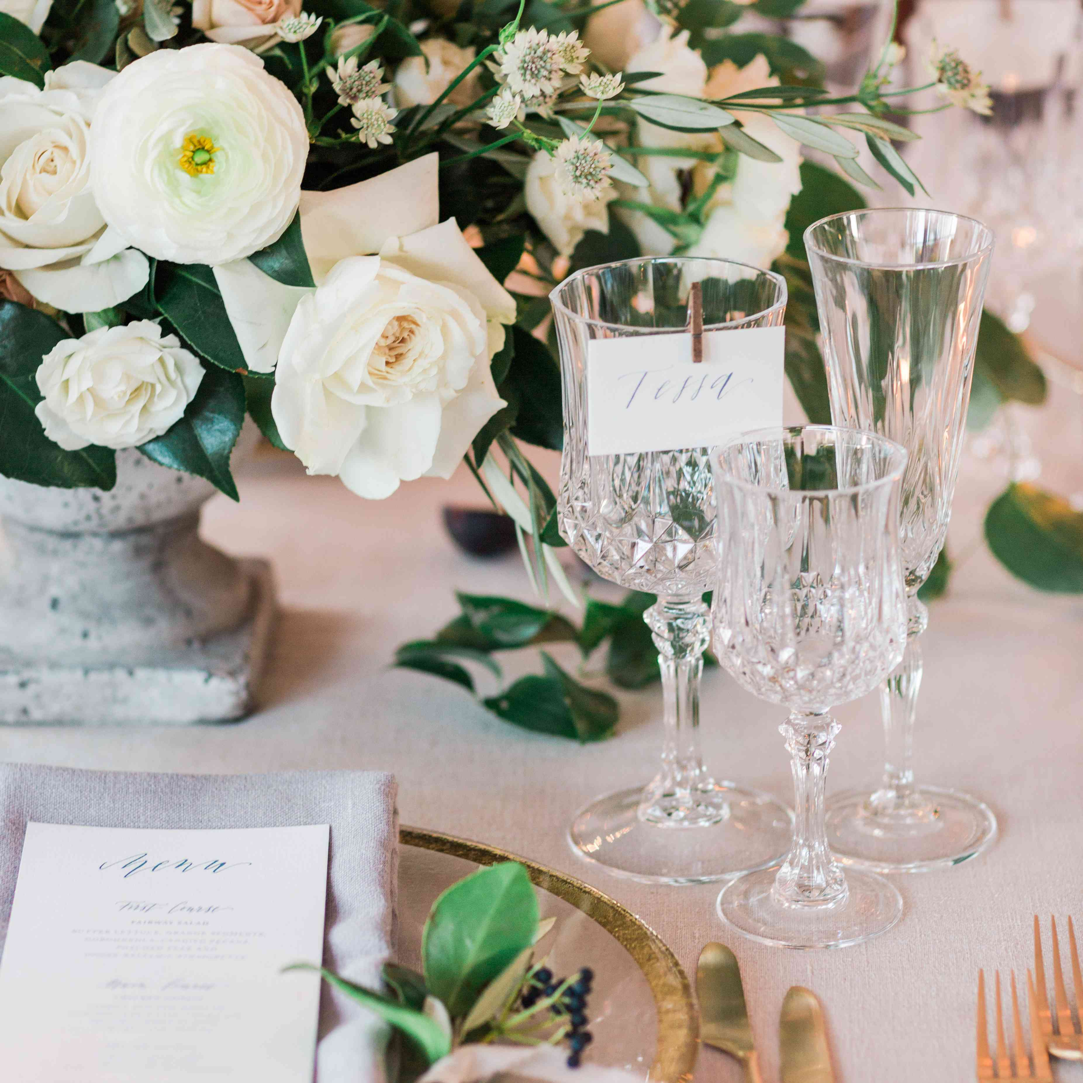 crystal glassware and floral centerpieces
