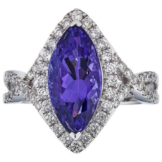 1stDibs Gem Bleu Tanzanite 3.5 Carat Marquise Ring
