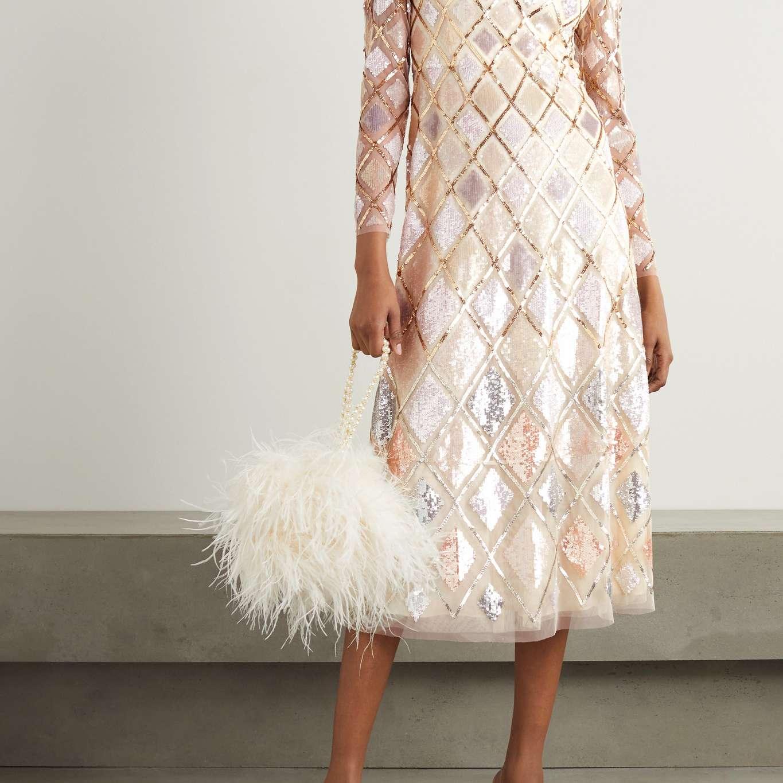 Needle & Thread Sequin Diamond Ballerina Embellished Tulle Midi Dress