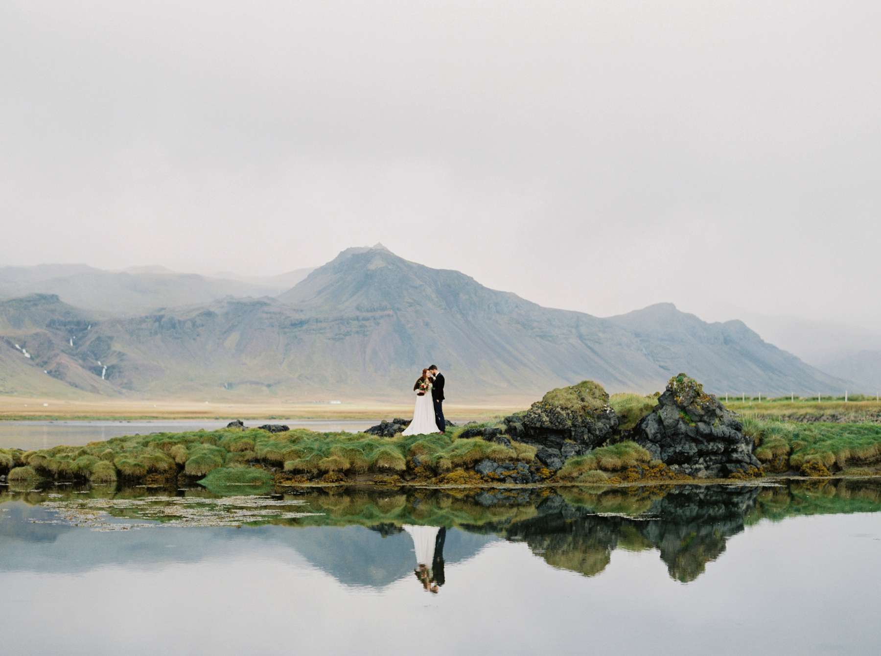 Couple posing with Icelandic mountains in the background