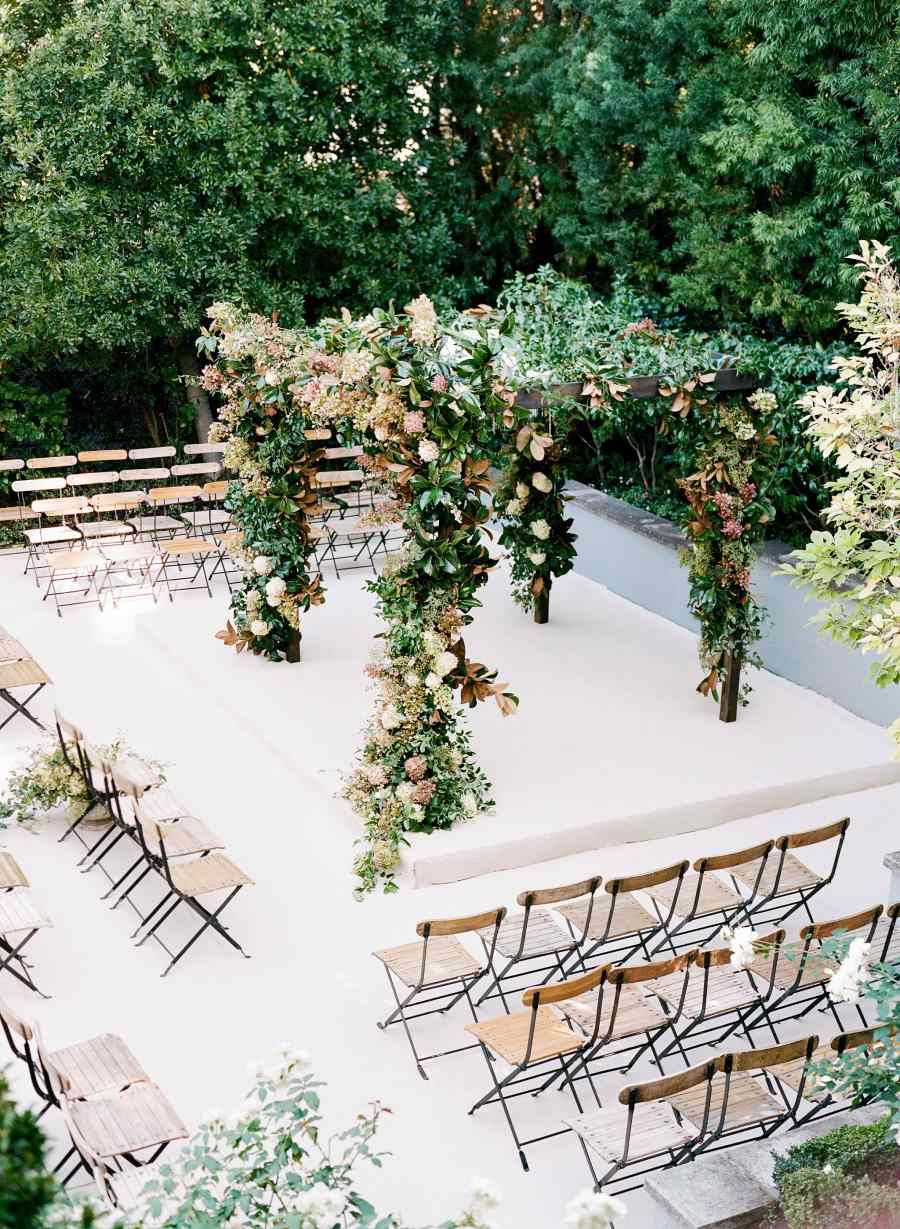 Wedding ceremony with floral chuppah