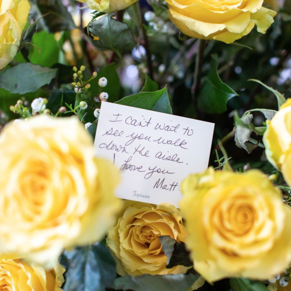 Yellow flowers with note