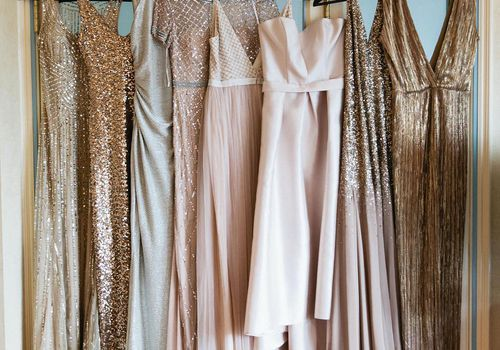Metallic and Gold Mismatched Bridesmaid Dresses