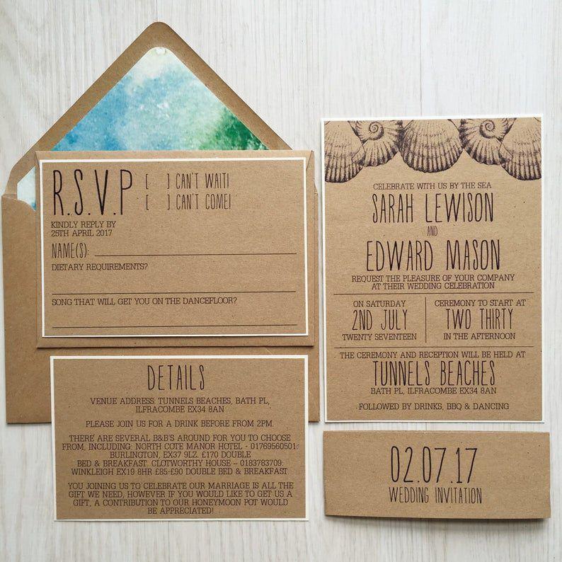 Rustic beach wedding invitation suite
