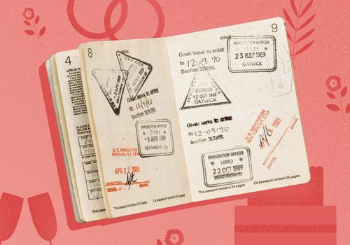 Passport with visa on marriage illustration