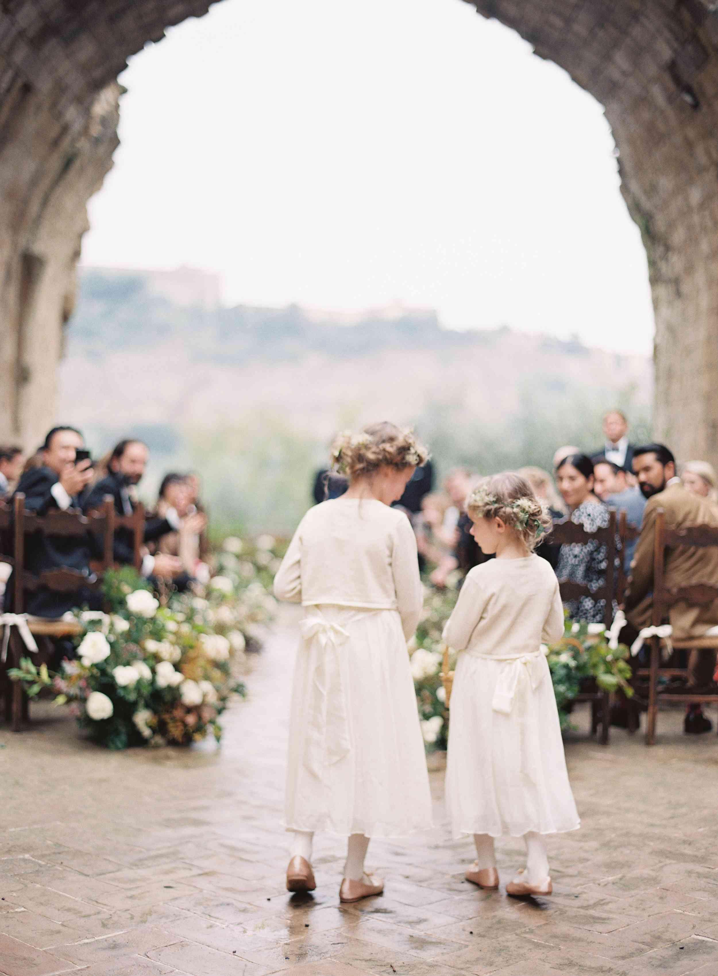 classic la badia italian wedding, flower girls